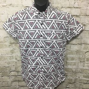21 Men Tribal Print Fitted Button Down Shirt